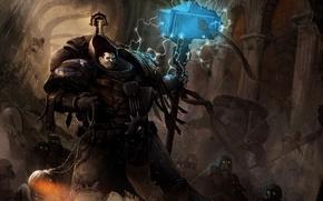 Обои командир, молоток, бойцы, Warhammer 40k