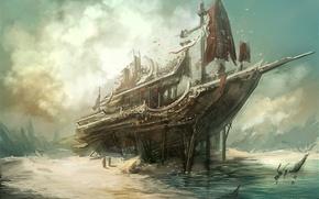 Картинка море, берег, корабль, остов, арт