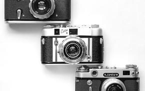 Картинка белый фон, раритет, фотоаппараты, корпуса, объективы, видоискатели, синхроконтакты, Carl Zeiss Tessar, Зоркий-6, Cita III, автоспуски