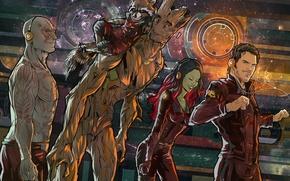 Картинка Rocket, raccoon, Стражи Галактики, Star-Lord, Gamora, Groot, Drax, Guardians of the galaxy