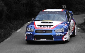 Картинка спорт, Авто, Синий, Subaru, Impreza, Машина, Гонка, Капот, WRX, STI, WRC, Rally, Передок