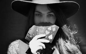 Картинка карты, Меган Фокс, Megan Fox, шляпа, черно-белое