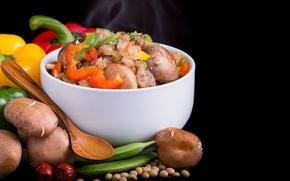 Обои миска, перец, рис, грибы, фон