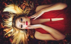 Обои платье, осень, в красном, девушка, на земле, прическа, макияж, листья, лицо, блондинка, лежит, руки, взгляд