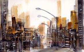 Картинка город, улица, акварель