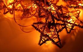 Обои гирлянда, новый год, праздник, лампочки, звезда, new year