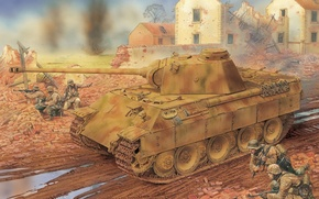 Картинка Рисунок, Пантера, Panther, PzKpfw V, Немецкий, Sd. Kfz. 171, Panzerkampfwagen V, Средне-тяжёлый танк, Мотопехотная дивизия …