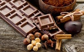 Обои орехи, корица, шоколад