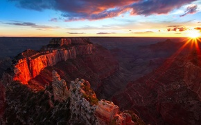 Картинка небо, солнце, закат, горы, каньон
