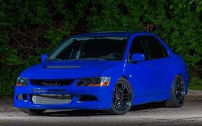 Картинка Mitsubishi, Lancer, Evolution, Blue, Night