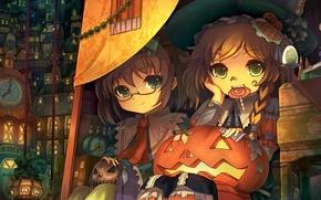 Картинка город, девочки, череп, шляпа, арт, очки, Halloween, тыква, леденец, хэллоуин, touhou