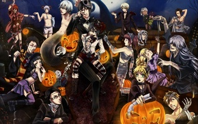 Картинка ночь, праздник, луна, череп, арт, тыквы, halloween, хеллоуин, мумия, бинты, kuroshitsuji, темный дворецкий