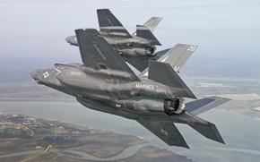 Картинка полет, истребители, бомбардировщики, Lightning II, F-35B