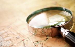 Картинка glass, map, magnifying glass
