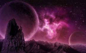 Картинка горы, туманность, скалы, планета, nebula, pink, planet