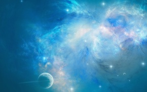 Обои синий, планета, космос