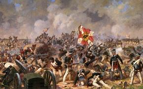 Картинка война, раненые, бой за багратионовы флеши, аверьянов, знамя, солдаты, отечественная война, битва, дым, русские, французы