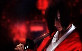 Картинка взгляд, Девушка, меч, кимоно