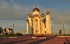Картинка цветы, церковь, храм, купола