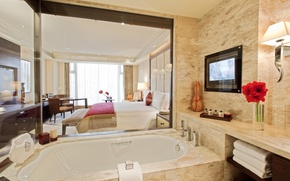 Картинка стол, комната, обои, интерьер, номер, ванна, wallpaper, фрукты, полотенца, люкс, КРОВАТЬ, ТЕЛЕВИЗОР