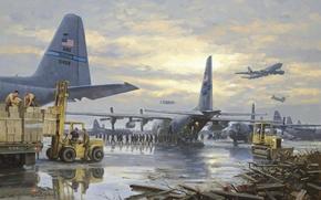 Картинка самолеты, солдаты, ящики, военная база, погрущик