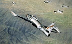 Картинка небо, рисунок, бой, арт, истребители, бомбардировщики, самолёты, МиГ-15, Локхид, Б-29, стратегические, Корейская война, (ВВС КНДР), …