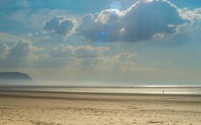 Картинка Небо, Вода, Песок, Облака, Океан, Пляж, Люди