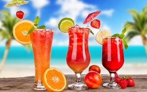 Картинка лимон, лед, коктейли, цитрусы, ягоды, cocktails, фрукты, апельсин, бокалы, лето, зонтики, лайм, клубника
