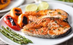 Обои рыба, Fish, перец, овощи, pepper, vegetables, Seafoods