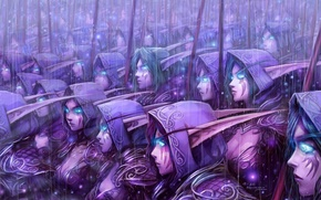 Картинка wow, art, blue eyes, background, army, world of warcraft, blizzard entertainment, elves, video games, night …