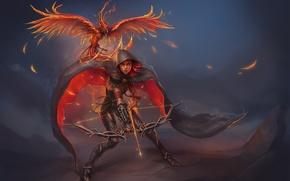 Картинка девушка, огонь, птица, лук, стрелы, феникс, art