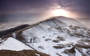 Картинка зима, небо, солнце, снег, тучи, гора, England
