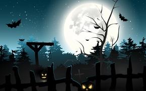 Картинка лес, кладбище, тыквы, ужас, horror, Хэллоуин, страшно, forest, halloween, полночь, bats, pumpkins, midnight, creepy, full …