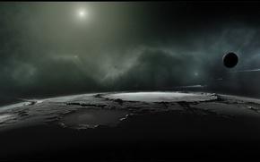 Картинка поверхность, туманность, планета, спутник, звёзды, комета, кратер, 3840x1080