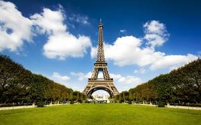 Обои аллея, Париж, день, эйфелева башня