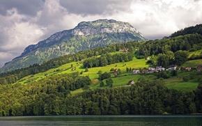 Обои швейцария, lake lucerne, озеро, горы, склон