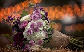 Картинка цветы, букет, солома, мешковина, боке