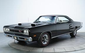 Картинка Коронет, Мускул кар, фон, Muscle car, Додж, R T, Coronet, Dodge, чёрный, 1969, передок, 440, ...