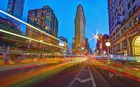 Картинка огни, улица, дома, Нью-Йорк, hdr, США, УТЮГ