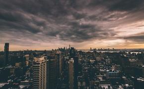 Обои облака, Нью-Йорк, горизонт, сумерки, Манхэттен, One World Trade Center, Соединенные Штаты, 1WTC, OWTC