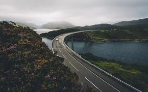 Картинка дорога, машина, мост, река