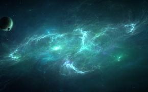 Обои звезды, туманность, планета, луны, созвездие, nebula