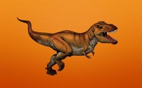 Обои хищник, зубастый, Тираннозавр, Dinosaur, динозавр, красноватый фон, Tyrannosaurus, Ти-рекс