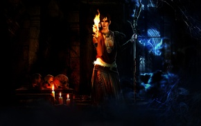 Картинка огонь, паутина, свечи, черепа, ведьма, Morrigan, Dragon Age