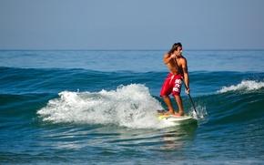 Картинка океан, мужчина, серф, sup surfing