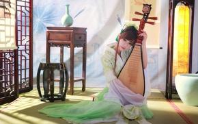 Картинка девушка, музыка, инструмент, азиатка