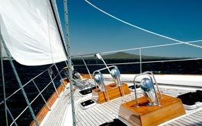 Картинка море, волны, небо, брызги, настроение, берег, яхта, горизонт, парус, палуба, sport, summer, sky, sea, marine, ...