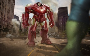 Картинка armor, art, hulk, iron man, avengers, Avengers: Age of Ultron, hulkbuster
