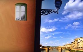 Обои фонарь, мост, Окно