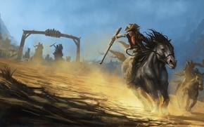 Картинка оружие, погоня, лошади, бандиты, живопись, ковбои, шляпы
